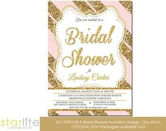Pink Gold Bridal shower invitation - Pink Gold Glitter Stripes - 5x7 - Unique Bridal Shower invitation - vintage style - You Print