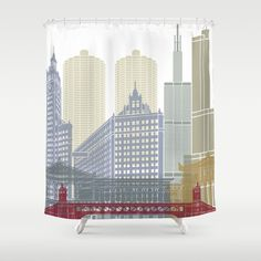 Buy Chicago skyline poster Shower Curtain by paulrommer. Worldwide shipping available at Society6.com. Just one of millions of high quality products available.