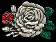 Red Roses Flowers Flower Floral Western Belt Buckle Buckles