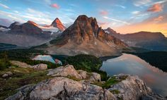 above & below - The view from the Niblet, Assiniboine Provincial Park, BC, Canada  This place is jaw-dropingly beautiful; Sunburst Peak above with Mount Assiniboine to the left. Magog, Cerulean and Sunburst lakes below.  No-one here but us and the mosquitoes :)