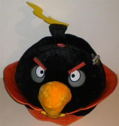"Angry Birds Space Black Bomb Plush Pillow & Sound Rovio NEW Tags Orange Cape 20"""
