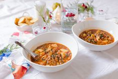 Black-Eyed Peas, Sweet Potato and Kale Soup - Black-eyed peas, sweet potato and kale simmered in a fragrant broth for a thick, warm delicious soup!