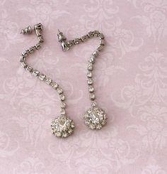 Vintage Long Dangle Rhinestone Earrings  by LoriLakeTreasures, $18.00