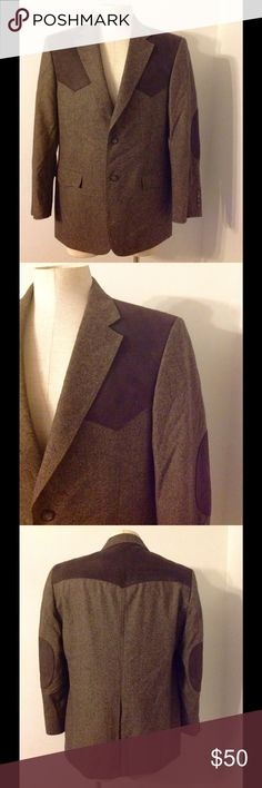 Mens Cowboy Western Tweed Sport Coat Jacket 42 New Nice Men's Sport Coat. Brown tweed with suede like shoulders and elbow pads. Made of wool/poly/acrylic and marked size 42R. Brand new without tags. Suits & Blazers Sport Coats & Blazers