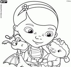 dottie doc mcstuffins with stuffy and lambie online coloring pages - Doc Mcstuffins Coloring Pages
