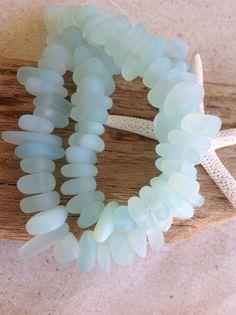 Sea glass-24 seaglass nuggets-beads-beach glass-center drilled glass bead-sand glass-bottle glass-mermaids tears-sea glass jewelry-bead