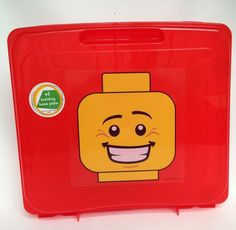 Red Lego Storage Carrying Case Plus 3 Base Plates Carry Handle Plastic Carrier #LEGO