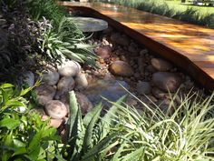 #Riverstones and water create a creek bed under the deck #GardenDesignSchool