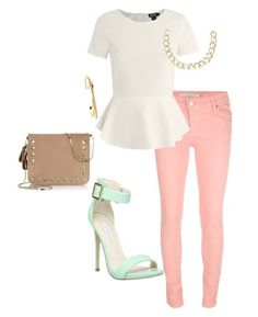 pink jeans with mint and tan