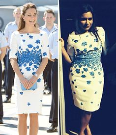 Kate Middleton and Mindy Kaling - two of my heroes wearing the same dress, and it looks fabulous on both