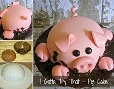 Pig Cake Tutorial wonderfuldiy Wonderful DIY Happy Pig in Mud Cake Pigs In Mud Cake, Pig In Mud, Piggy Cake, Happy Pig, Farm Cake, Animal Cakes, Pig Party, Farm Birthday, Fancy Cakes