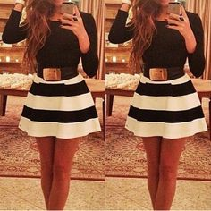Simple Scoop Neck Long Sleeve Color Block Striped Women's Dress
