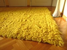 Woolen rug, FREE SHIPPING, yellow rug, wool and cotton rug, area rug, floor rug, carpet, textile rug by ThrowBlanket on Etsy
