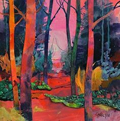 """Mixed media acrylic collage, """"A Walk in the Woods"""" by Carol Nelson"""