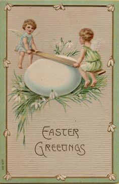 Victorian Easter Angels Postcard