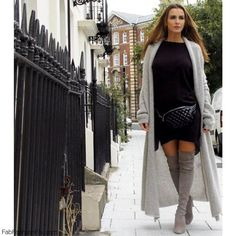 Grey cardigan, sweater dress and grey suede over-the-knee boots for autumn street style.