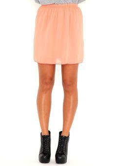 Ellva Sheer Skater Skirt In Peach