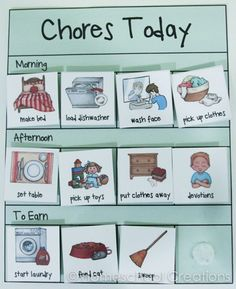 Preschool chore charts with pictures-2.  Downloadable pdf, lesson in giving/saving/spending, great pictures, easy execution.