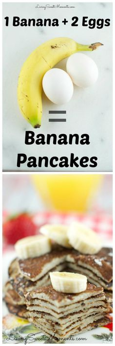 These 2 Ingredient Banana Pancakes are so easy to make! All you need is 2 eggs and a banana in a blender! That's it. They are gluten free and so delicious.: