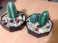 More cacti painted rocks. Cute idea with the ladybug and small rocks in the pot.