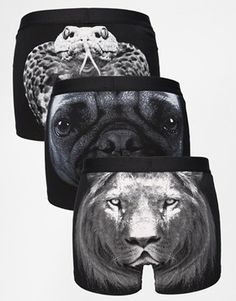 ASOS 3 Pack Trunks with Animal Faces