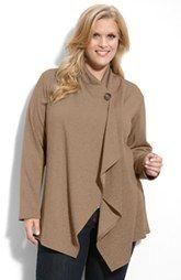 Bobeau One-Button Fleece Cardigan (Plus Size) | sugar plum style ...