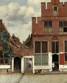 """""""The Little Street (Het Straatje)"""" c. 1657-61,The Rijksmuseum, Amsterdam. An unusual painting in Vermeer's oeuvre: a few houses and a couple of people in a quiet street. Vermeer gave the scene a palpable sense of tension and balance. The old walls, worn bricks and white plaster are almost tangible. What part of Delft this shows is no longer known."""