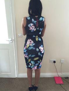 V neck floral body con dress