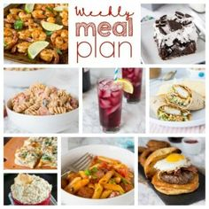 Weekly Meal Plan Week Make the week easy with this delicious meal plan. 6 dinner recipes, 1 side dish, 1 dessert, and 1 fun cocktail make for a tasty week! Chicken Wrap Recipes, Beef Recipes For Dinner, Easy Pasta Recipes, Pasta Salad Recipes, Easy Meals, Cheesy Sausage Pasta, Creamy Pasta Salads, Vegetarian Nachos, Meals For The Week
