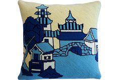 Pagoda Needlepoint Pillow on OneKingsLane.com