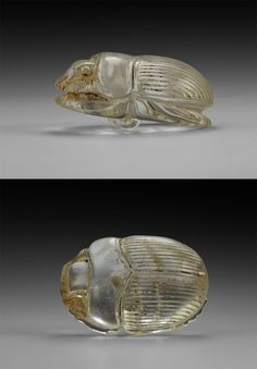 A substantial carved rock crystal scarab, detailed underside with ribbed suspension loop. Ancient Egyptian Artifacts, Ancient Egyptian Jewelry, Bijoux Art Nouveau, Ancient Civilizations, Animal Jewelry, Archaeology, Krystal, Antique Jewelry, Jewelry Design