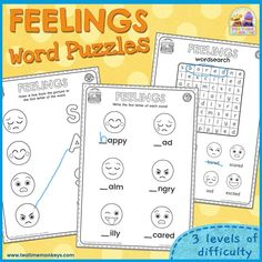 Use these word puzzles to practise feelings and emotions vocabulary with your kids! Includes word searches and letter/word match games in three levels of difficulty. Feelings Words, Feelings And Emotions, Letter Matching, Matching Games, Emotions Game, Preschool Behavior, Fun Educational Games, Emotion Faces, Social Skills For Kids