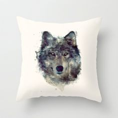 Wolf+//+Persevere++Throw+Pillow+by+Amy+Hamilton+-+$20.00