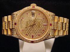 Mens #Rolex 18k #Gold Day Date President #Diamond #Watch - #luxury #fashion