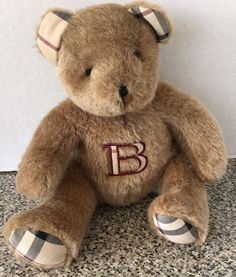 "Burberry Fragrance Plush Brown Teddy Bear Nova Check Ears Feet 9"" Stuffed Animal…"