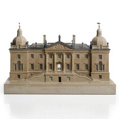 A lead-mounted polychrome painted plaster architectural model of of Houghton Hall by Timothy Richards, dated 2003.