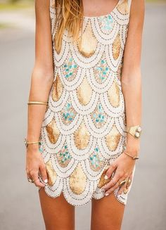 Gold and turquoise dress. by Leila Genevieve #goldgame