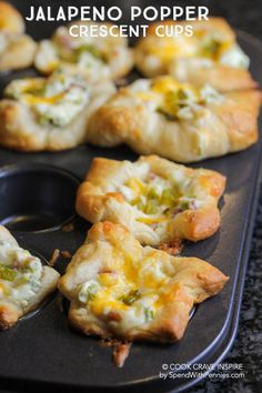 These Jalapeno Popper Crescent cups are the hit of every party and so easy to make! Crescent dough is filled with a creamy, cheesy and spicy filling.