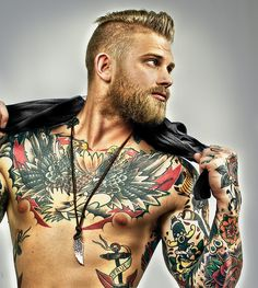 Josh Mario John - blond beard undercut tattoos tattooed ink beards bearded man men built muscles muscular