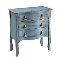 This timeless three-drawer chest from Creek Classics is the perfect way to add storage to any room in your home. It has a distressed finish, which will add character to your decor, and the nautical-themed pulls will help create a beach cottage feel.