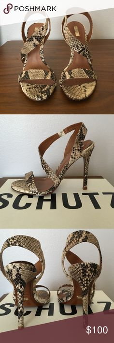 Schutz sandals size 8 Beautiful Schutz sandals in tan snake print. Leather. Size 8. Brand new, never been worn. SCHUTZ Shoes Sandals