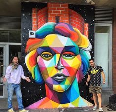 Okuda paints a series of new pieces in Berlin, Germany Stencil Graffiti, Graffiti Artwork, Cool Artwork, Art Banksy, Okuda, Poster Prints, Art Prints, Posters, Spanish Artists