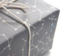 Éco-emballage papier « Molécules gris » lot de 2