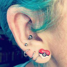 Up to our ears in Pokémon // Pokemon Poke Ball Heart Earrings