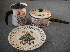 Vintage Berggren Rosemaling Enamel Sauce Pan Coffee Pot Porcelain God Jul Plate | eBay