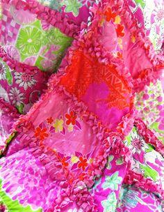 Lilly Pulitzer Minky Baby Rag Quilt Bon Bon Hula by dmaeredesigns, $125.00