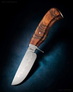 Forged 1075 Hunter, wrought guard, Carlo Walnut handle, from Wright's Oak Grove Knife and Iron Works.