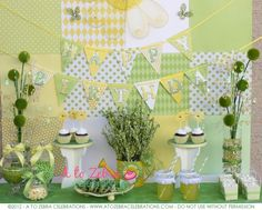 Spring themed baby shower dessert table