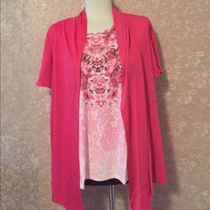 Twinset Two In One Art Top Hot Pink Womens Large L New #Blair #KnitTop #Casual