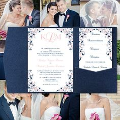 Pocket Fold Wedding Invitations Kaitlyn Blush by WeddingTemplates